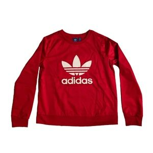 ADIDAS ORIGINALS RED SATIN CREWNECK